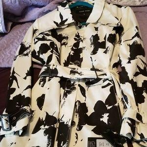 Black&White Floral Print Trench Coat